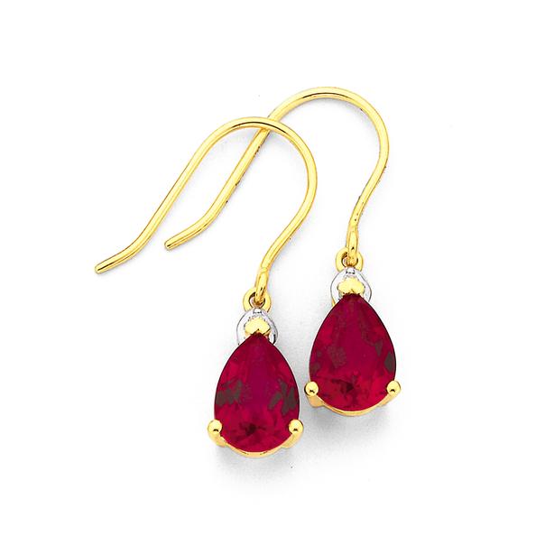 9ct Gold, Created Ruby & Diamond Pear Earrings