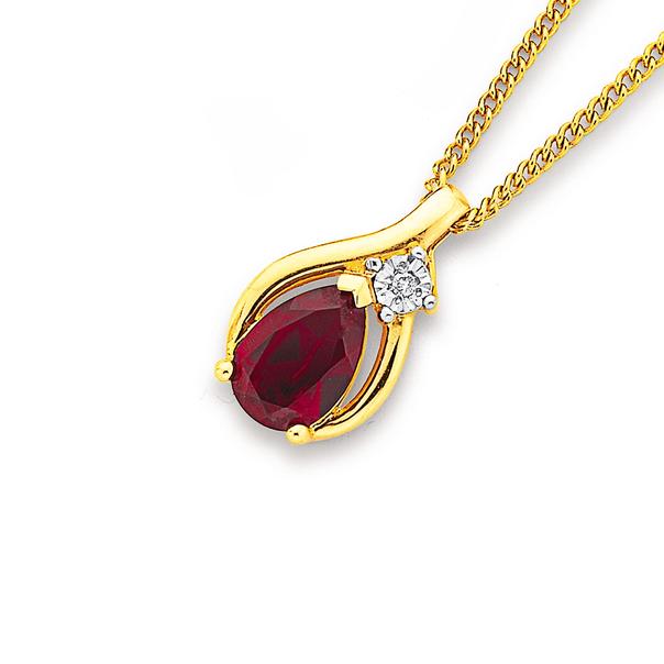 9ct Gold, Created Ruby & Diamond Pear Shape Pendant