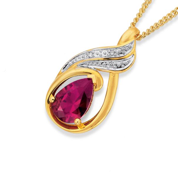 9ct Gold Created Ruby & Diamond Pendant