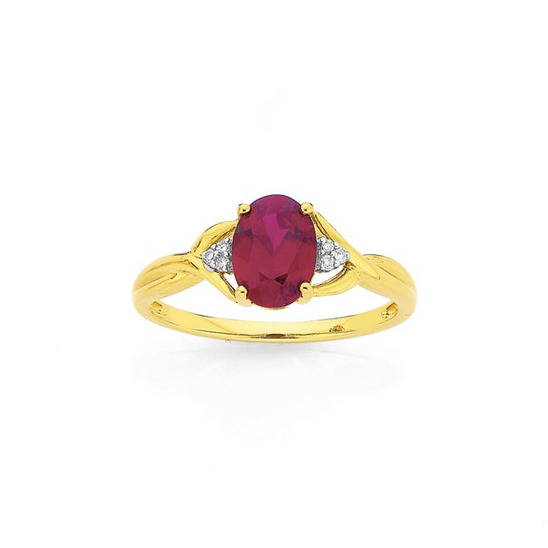 9ct Gold, Created Ruby & Diamond Ring