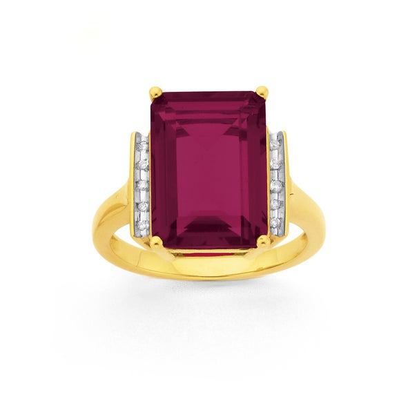 9ct Gold,, Created Ruby & Diamond Ring