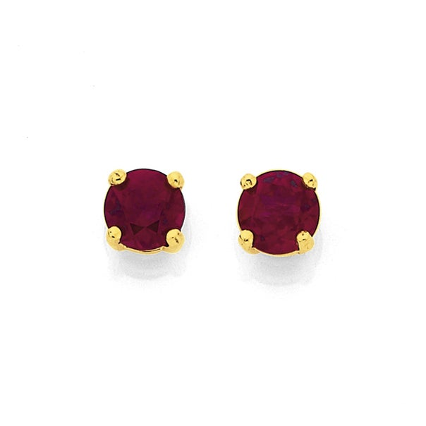 9ct Gold Created Ruby Round Stud Earrings