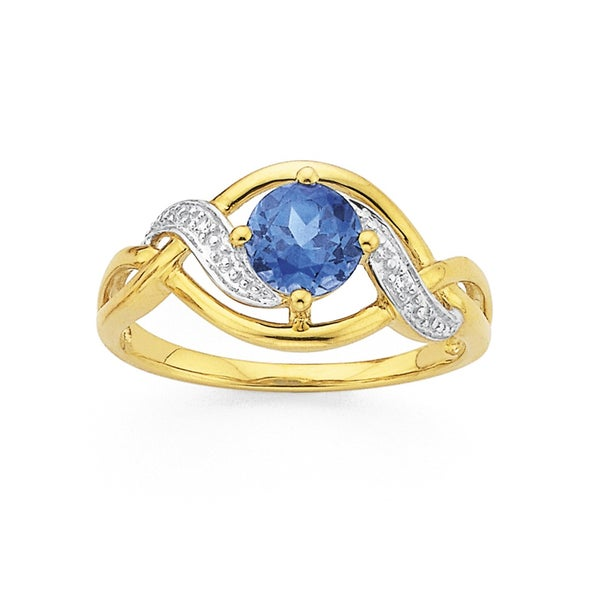 9ct Gold, Created Sapphire and Diamond Ring