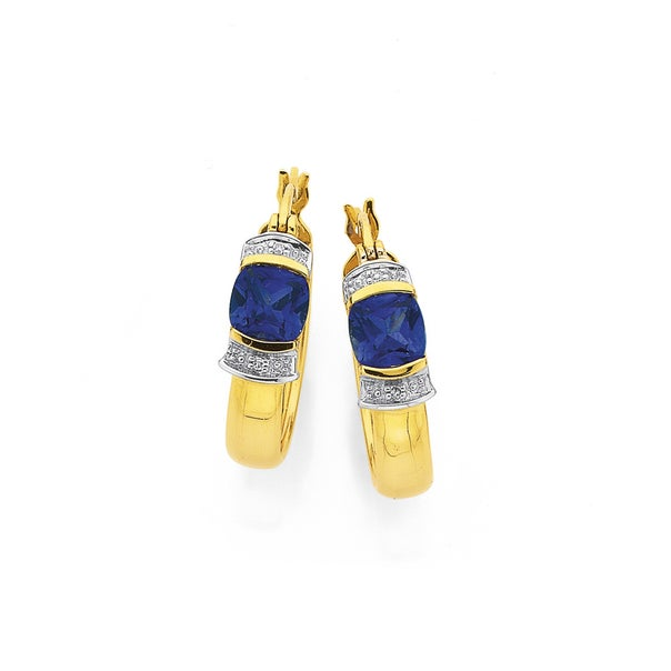 9ct Gold, Created Sapphire & Diamond Cushion Hoop Earrings