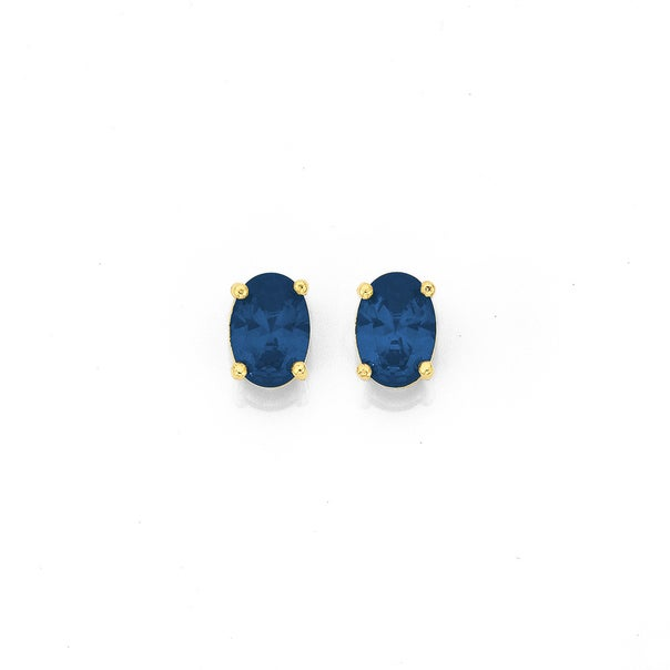 9ct Gold Created Sapphire Oval Stud Earrings