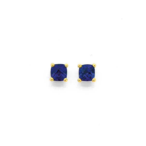 9ct Gold, Created Sapphire Stud Earrings