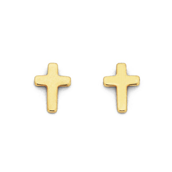 9ct Gold, Cross Stud Earrings