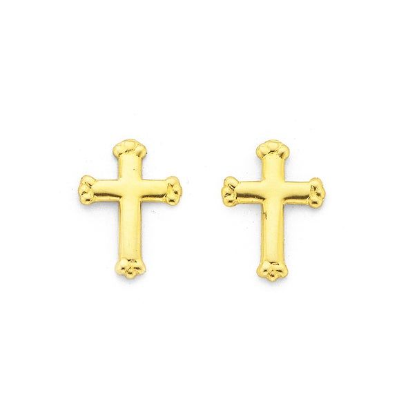 9ct Gold, Cross Stud Earrings with Crown