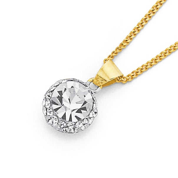 9ct Gold, Crystal Cluster Pendant
