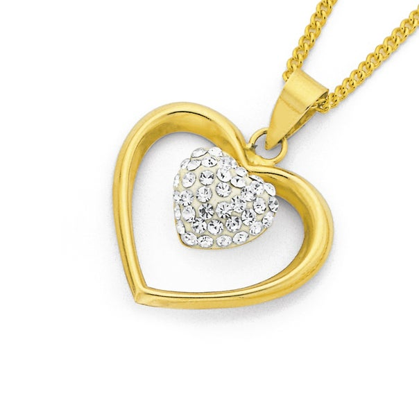 9ct Gold, Crystal Double Heart Pendant