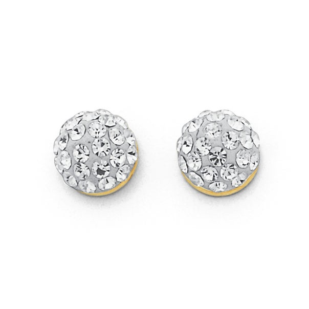 9ct Gold, Crystal Half Round Ball Stud Earrings