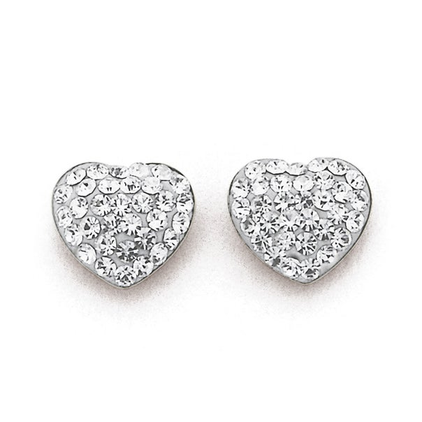 9ct Gold, Crystal Heart Stud Earrings