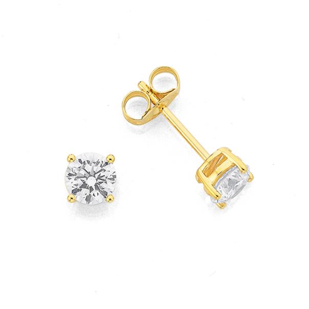 9ct Gold Cubic Zirconia 5mm Stud Earrings