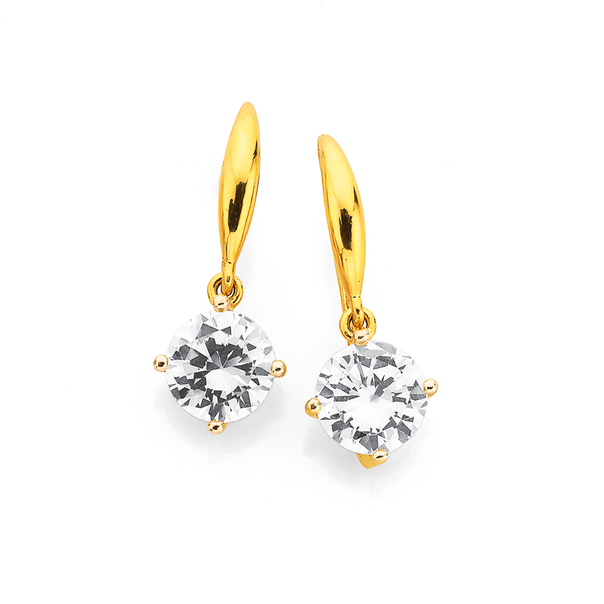 9ct Gold, Cubic Zirconia 7mm Round Hook Earrings