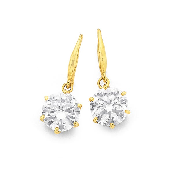 9ct Gold, Cubic Zirconia 8mm Round Hook Earrings
