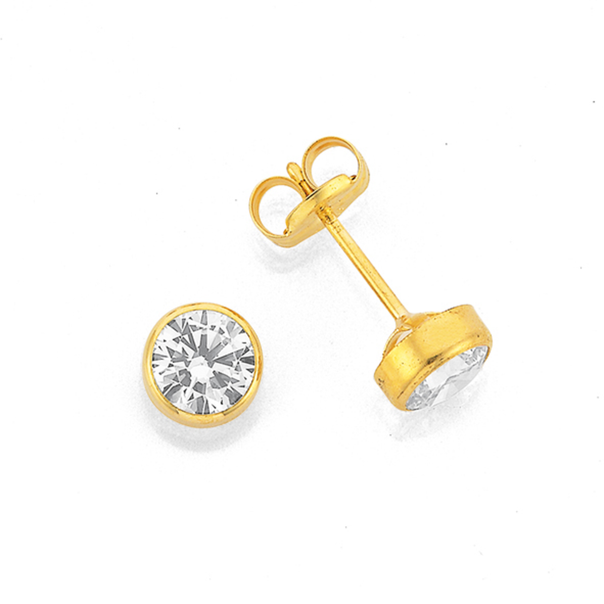 9ct Gold Cubic Zirconia Bezel Set 5mm Stud Earrings