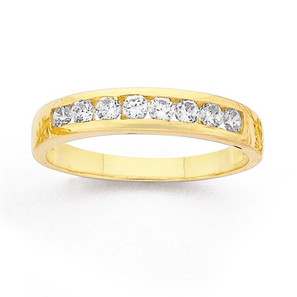 9ct Gold, Cubic Zirconia Channel Set Eternity Ring