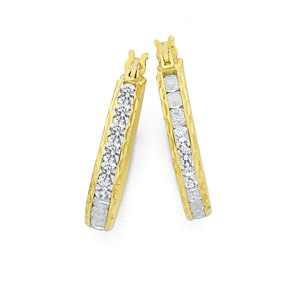 9ct Gold, Cubic Zirconia Channel Set Hoops 14mm