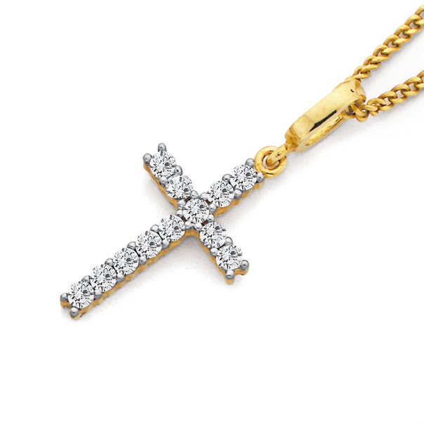 9ct Gold, Cubic Zirconia Cross Pendant