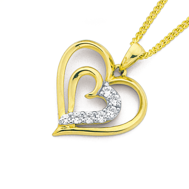 9ct Gold, Cubic Zirconia Double Heart Pendant