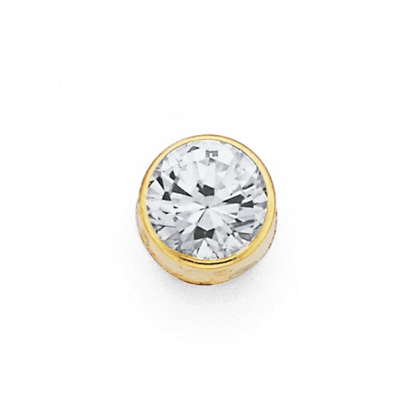 9ct Gold, Cubic Zirconia Gents Round Single Stud Earring
