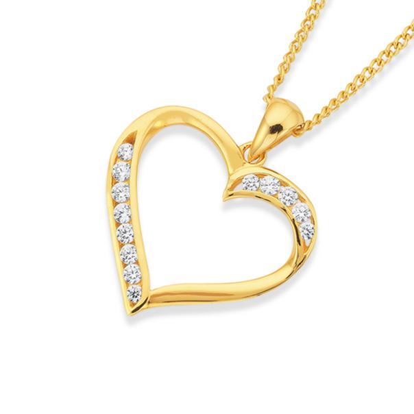 9ct Gold Cubic Zirconia Heart Pendant