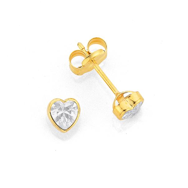 9ct Gold Cubic Zirconia Heart Stud Earrings