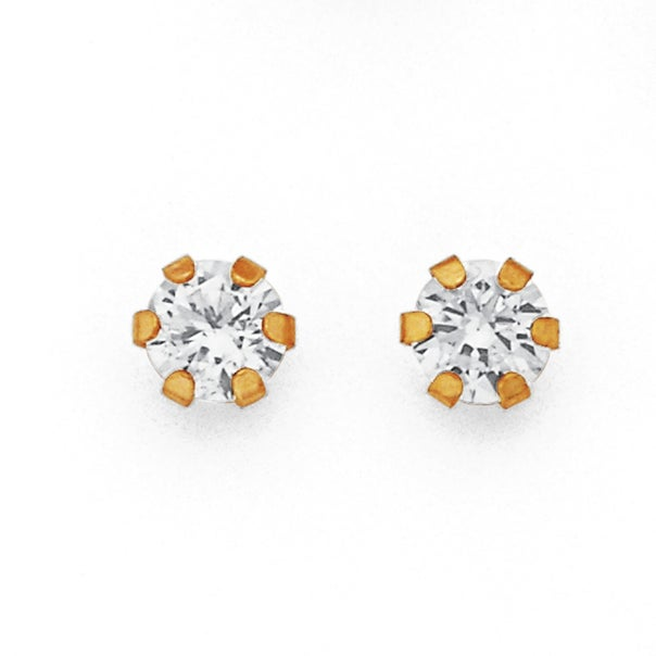 9ct Gold, Cubic Zirconia Round 6 Claw Stud Earrings