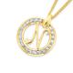 9ct Gold Cubic Zirconia Round Script Initial N Pendant