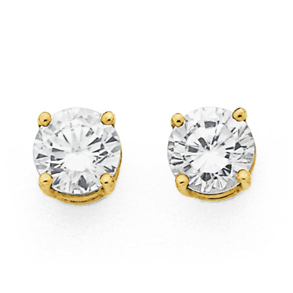 9ct Gold, Cubic Zirconia Round Stud Earrings
