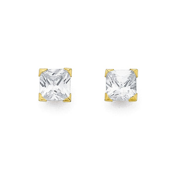 9ct Gold, Cubic Zirconia Square 4 Claw Stud Earrings
