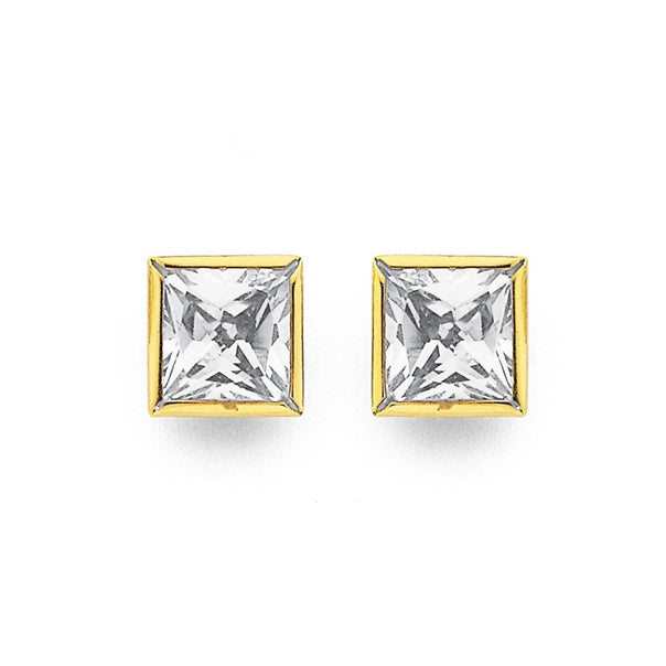 9ct Gold, Cubic Zirconia Square Stud Earrings