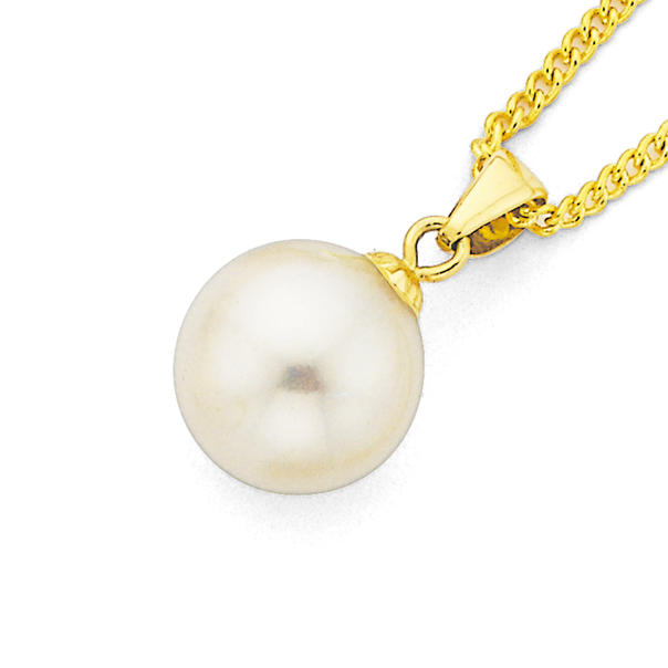 9ct Gold, Cultured Fresh Water Button Pearl Pendant