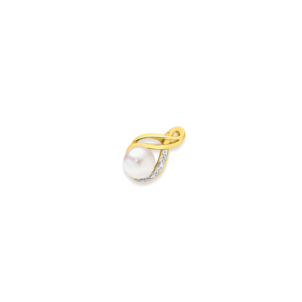 9ct Gold, Cultured Fresh Water Pearl & Diamond Crossover Pendant