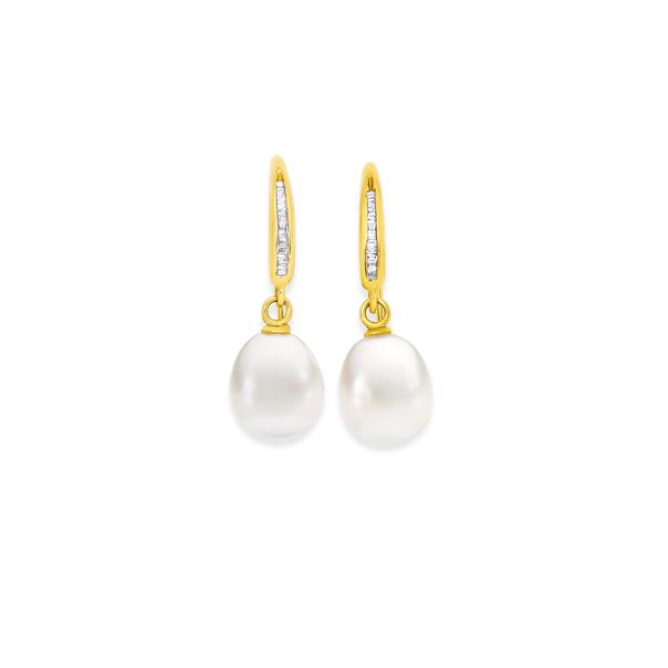 9ct Gold Cultured Fresh Water Pearl & Diamond Drop Earrings