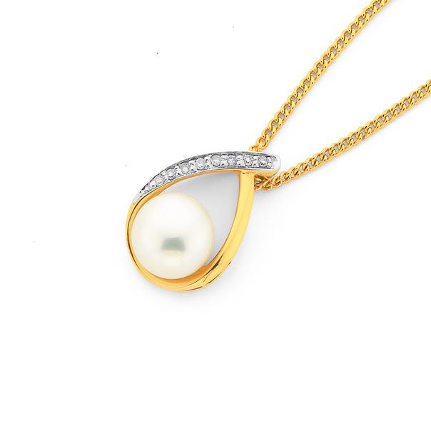 9ct Gold, Cultured Fresh Water Pearl & Diamond Loop Pendant