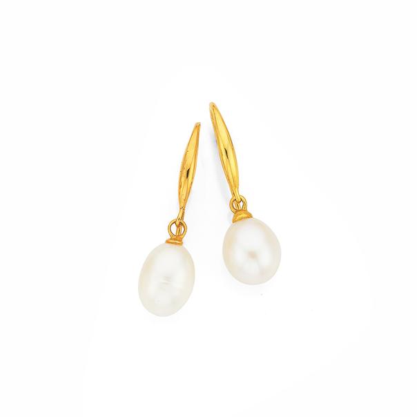 9ct Gold Cultured Fresh Water Pearl Drop Earrings