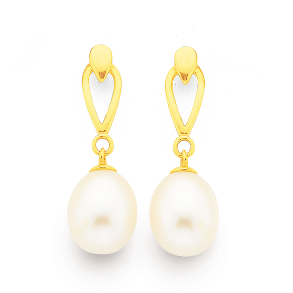 9ct Gold, Cultured Fresh Water Pearl Drop Studs