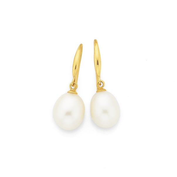 9ct Gold, Cultured Fresh Water Pearl Earrings