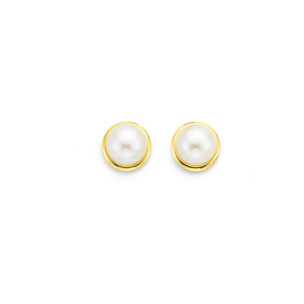 9ct Gold, Cultured Fresh Water Pearl Gold Framed Stud Earrings
