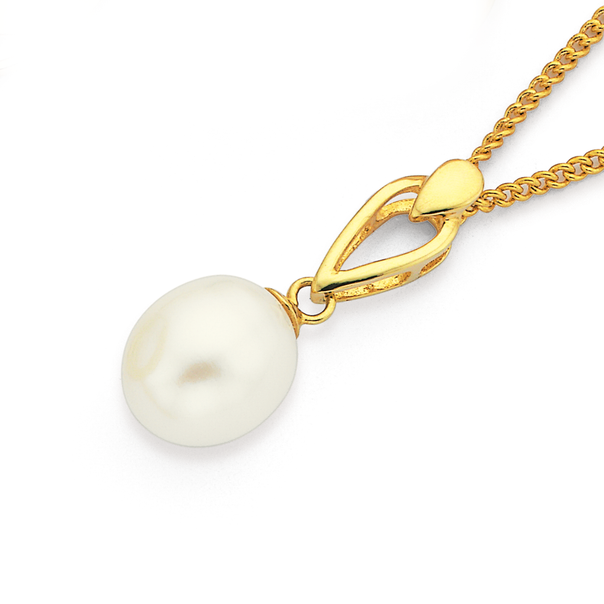 9ct Gold, Cultured Fresh Water Pearl Pendant