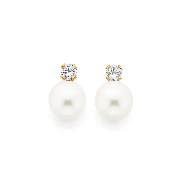 9ct Gold, Cultured Freshwater Pearl & Cubic Zirconia  Earrings
