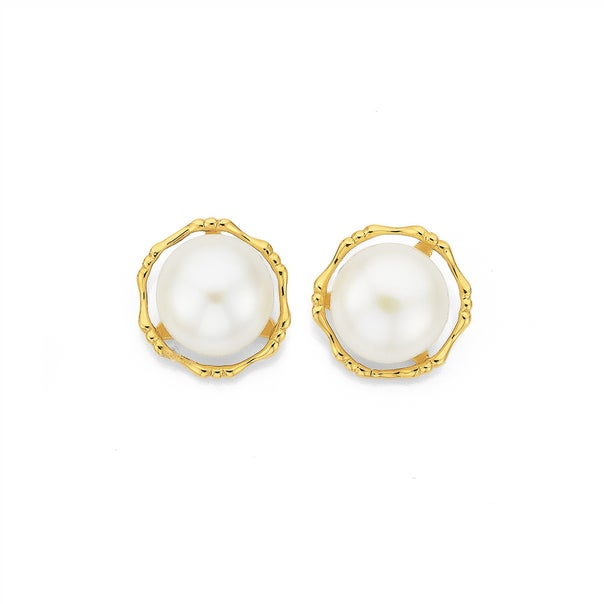 9ct Gold Cultured Freshwater Pearl Earrings