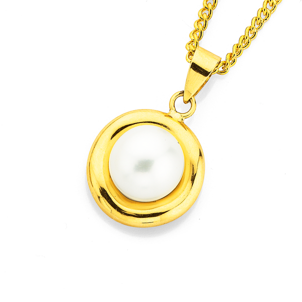 9ct Gold, Cultured Freshwater Pearl Pendant