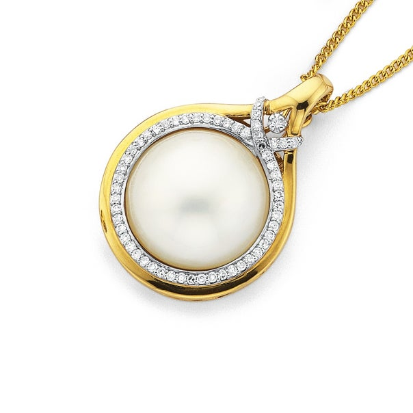 9ct Gold, Cultured Mabe Pearl and Diamond Enhancer Pendant