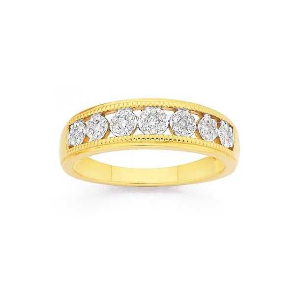 9ct Gold, Diamond 7 Cluster Band
