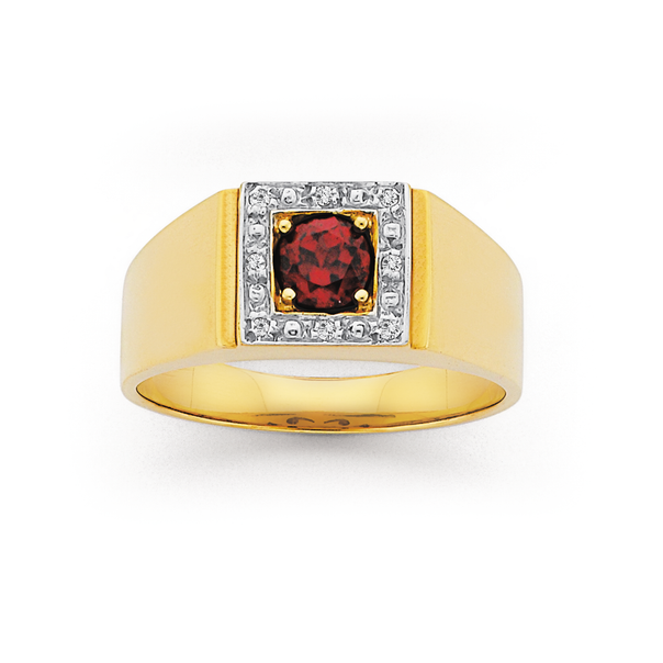 9ct Gold Diamond and Created Ruby Gents Ring
