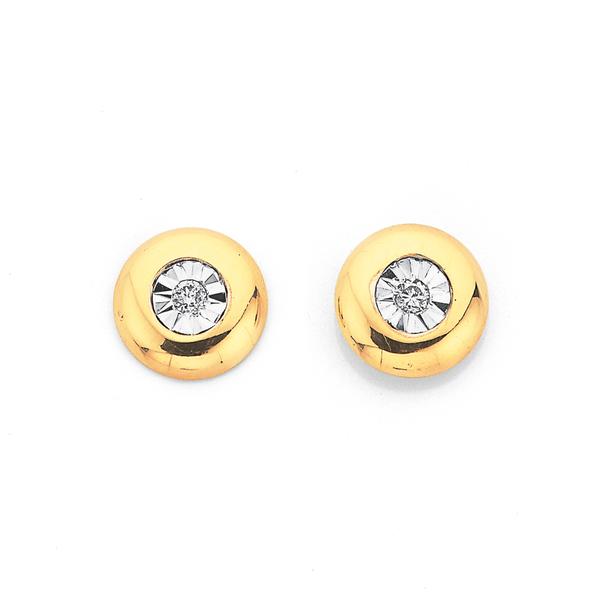 9ct Gold Diamond Bezel Stud Earrings