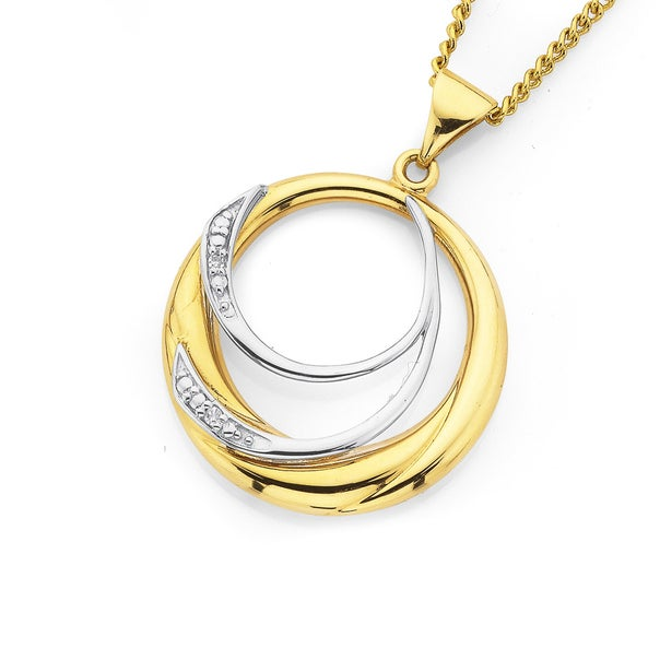 9ct Gold Diamond Circle Pendant