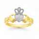 9ct Gold, Diamond Claddagh Ring